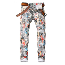 Sokotoo Mens English flag beauty girl 3D printed jeans Slim fit colored drawing painted stretch pants