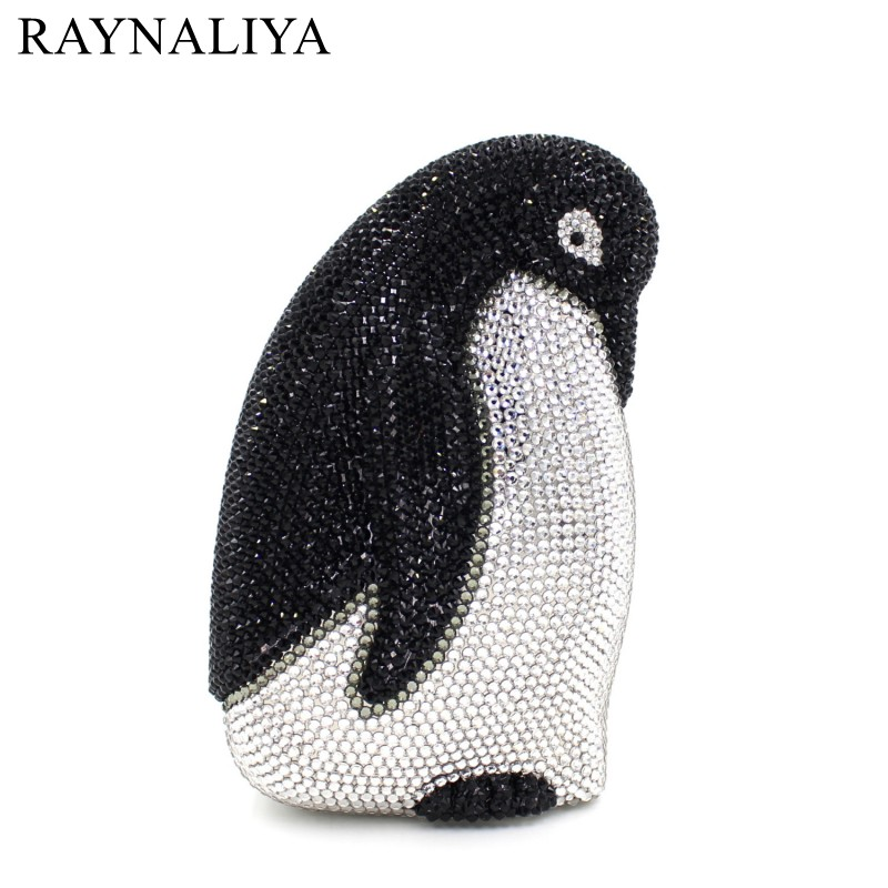 Wedding Bridal Crystal Penguin Handbag Purse Ladies Prom Diamond Evening Clutch Bags Metal Minaudiere Purses SMYZH-E0210