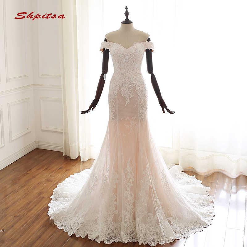 תחרה בת ים חתונת שמלות כבוי כתף טול בתוספת גודל Weddingdress סין Weding הכלה כלה שמלות Weeding שמלה