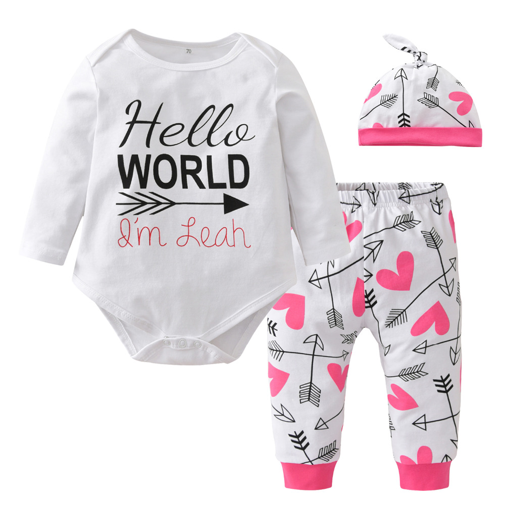 3Pcs Infant Newborn Baby Girls Hello World Romper Tops+Pants Clothes Outfit Sets