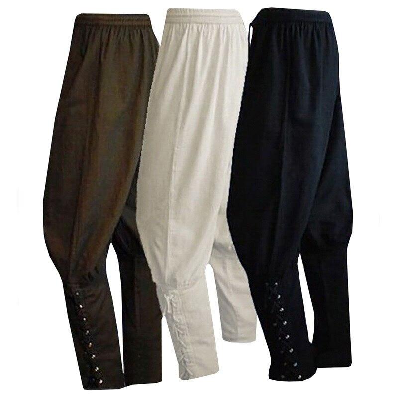 Adult Men Medieval Renaissance Lounge Pirate Horseman Costume Loose Pants Viking Black Brown Navigator Leg Bandage Trouser  XXXL
