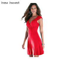 Irene Inevent Women Summer Black Red Dresses 2017 Sexy V Neck Backless Bodycon Mini Dress Robe