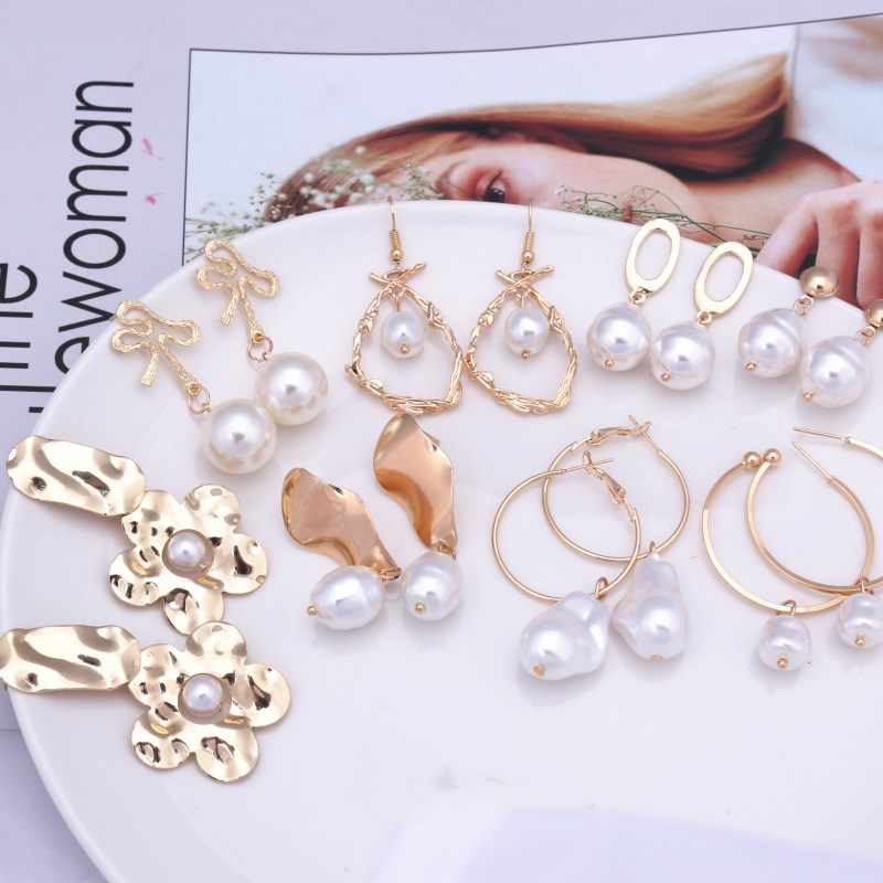 EK314 New Design Metal Gold Color Circle Cross Heart Geometric Irregular Natural Imitation Pearl Drop Earrings for Women Jewelry
