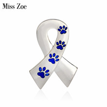 Miss Zoe Scarf Shaped with Dog Paws Cat Kitten Brooch Pins for Sweater Pin Badges Gift Jewelry for Dog Owner Women Girl Kids(China)