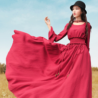Jessica S Store 2017 New Autumn Women Vintage Royal Wind Red Slim Waist Expansion Bottom Long