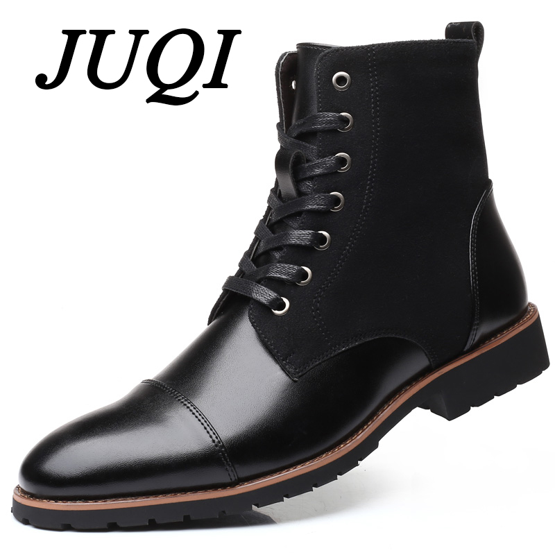 JUQI New Handmade Men Leather Winter Boots High Quality Warm Snow Men Boots Ankle Boots For Men Business Dress Shoes Men