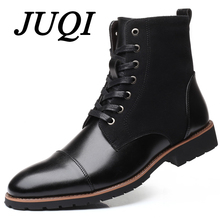 JUQI New Handmade Men Leather Winter Boots High Quality Warm Snow Ankle For Business Dress Shoes