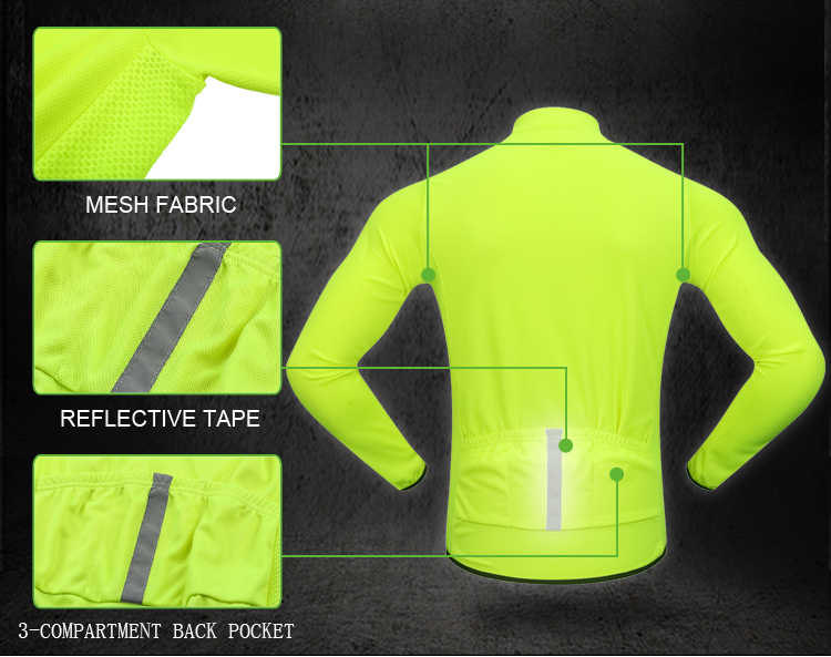 WOSAWE Autumn Cycling Jersey Long Sleeve Men MTB Road Bike Wear Maillot Ciclismo Jersey High Ventilation Bike Wear Shirt Tops