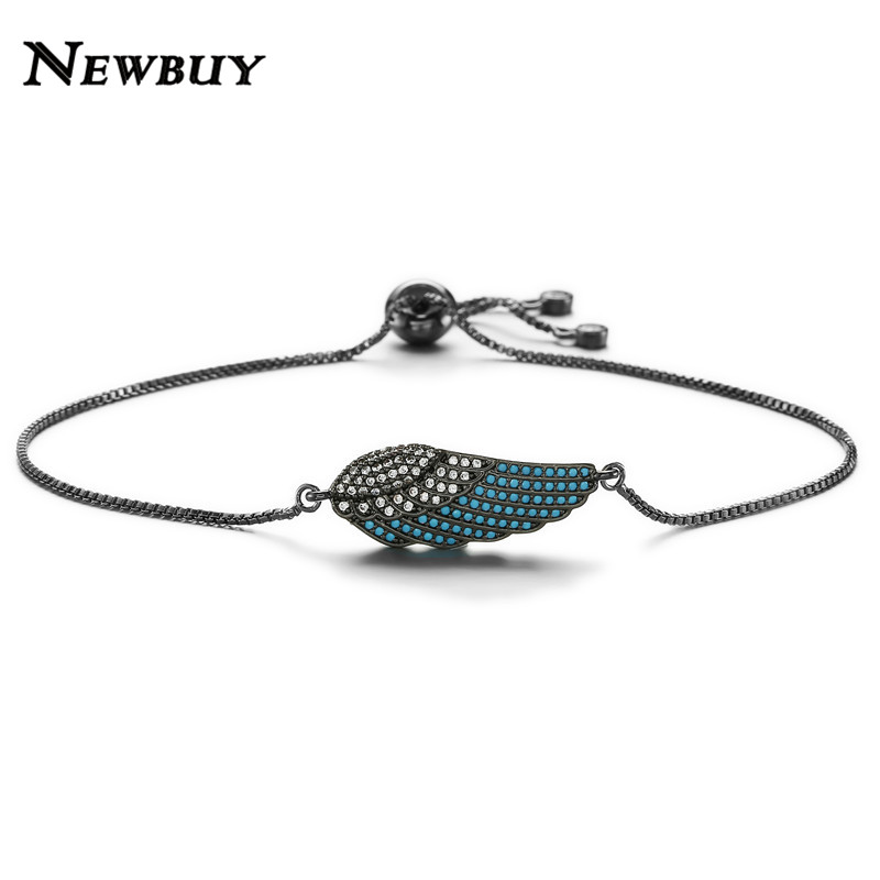 NEWBUY Luxury Natural Stone Angle Wings Charm Bracelets Adjustable Copper Chain Female Bracelets & Bangles Gifts For Women