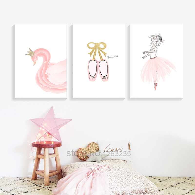 A Little Princess Nursery Design: Ballet Little Princess Nursery Nordic Poster Wall Art