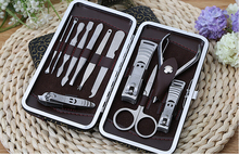 12 in 1 set Nail Care Set Pedicure Scissor Tweezer Knife Ear pick Utility Manicure Tools Nail Clipper Kit jk17