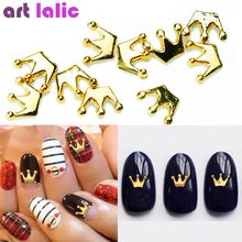 10psc New Gold Crown 3D Nail Art Decorations Alloy Nail Charms Nails  Rhinestones Nail Supplies DIY 02fb4aa2132b