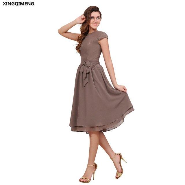 Simple Calf Length Chiffon Bridesmaid Dresses With Bow Cap Sleeve Short Brown Formal Elegant