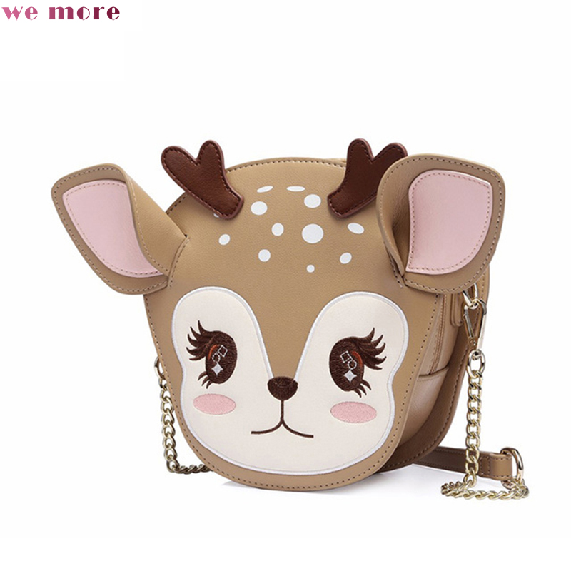 we more Women's PU Leather Messenger Bags Ladies Cartoon Deer Shoulder Purse Girl's Mini Cute Chains Crossbody Bag best shipping women designer shoulder bags ladies mini transparent jelly flap bag girls cute cartoon chains beach bag bolsos femininas
