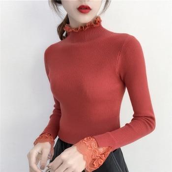 2018 новый демисезонный высокие эластичные вязаные свитера женские