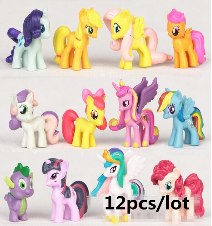 12 Pcs/set 3-5cm My Cute Pvc Lovely Little Ponis  Horse Action Toy Figures Dolls For Girl Birthday Christmas Gift