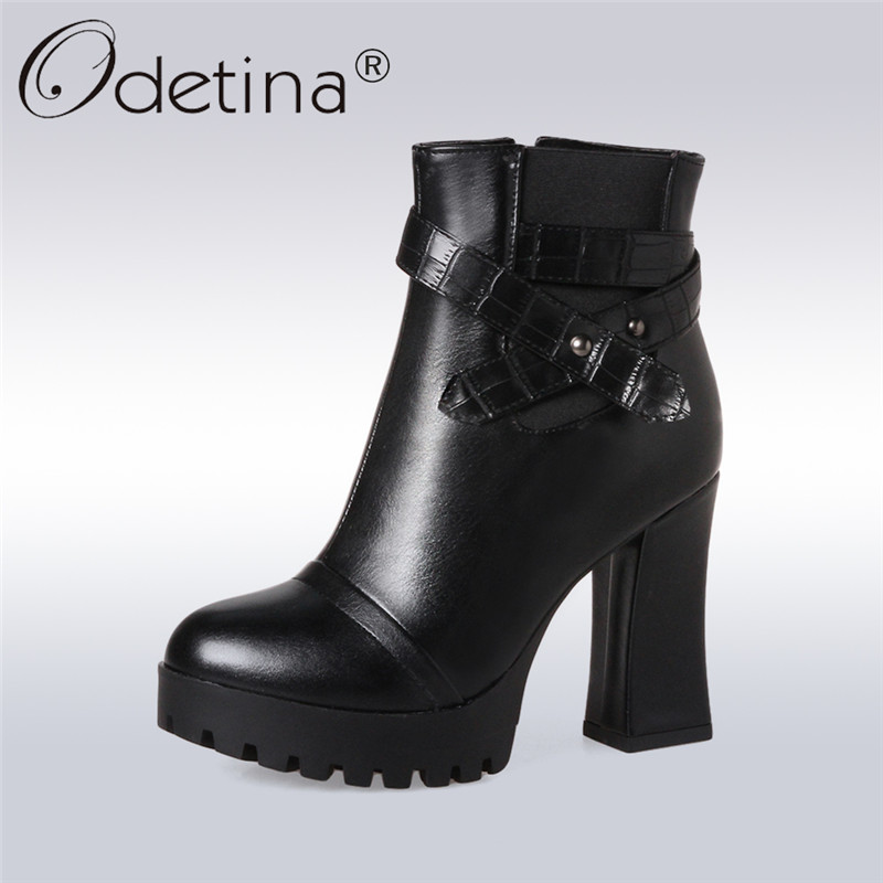 Odetina 2017 New Autumn Winter Fashion Thick High Heels Boots Women Round Toe Shoes Side Zipper Ankle Boots Platform Big Size 43 fringe wedges thick heels bow knot casual shoes new arrival round toe fashion high heels boots 20170119
