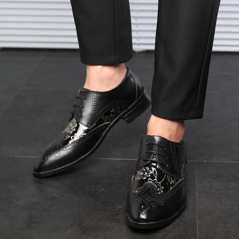Chaussures Nouveau Élégant Mâle La brown Cuir Contracté De En 2018 Mode Hommes Robe yellow Black Noire Marque Mariage Imprimé WIdqnTpc