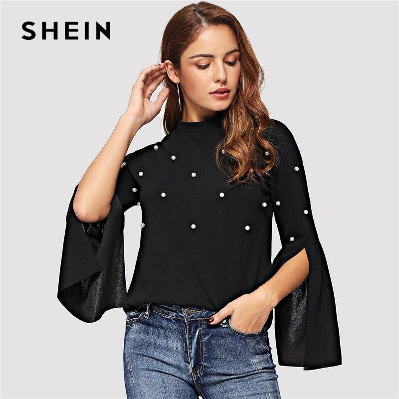 36a3b2bc6933c SHEIN negro perla Beading Split manga campana sólida superior elegante  cuello cremallera camiseta Casual de otoño