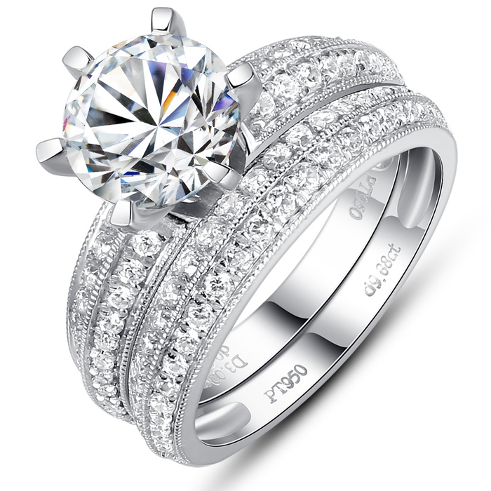 luxury simulated diamond 2 ct engagement rings wedding bridal jewelry engagement ring sets fine pure silver ring set jewellery in rings from jewelry - Luxury Wedding Rings