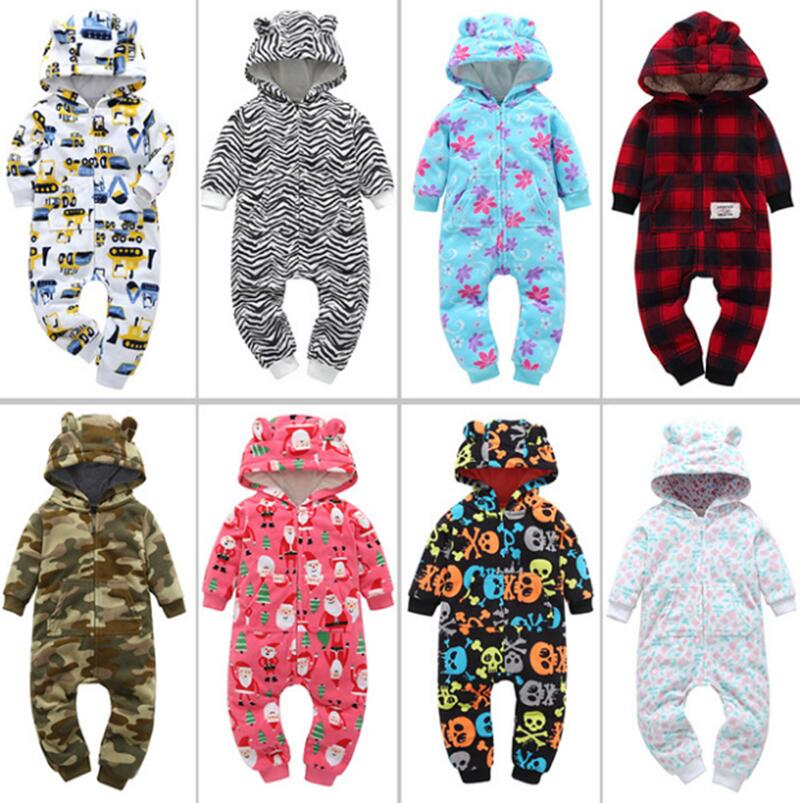 New spring and autumn young children thick fleece jumpsuit hooded child climbing clothes winter Fleece