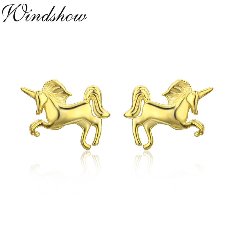 Cute 925 Sterling Silver Slim Tiny Little Horse Stud Earrings For Women S Kids Baby Piercing Jewelry Orni Aros Arete In From