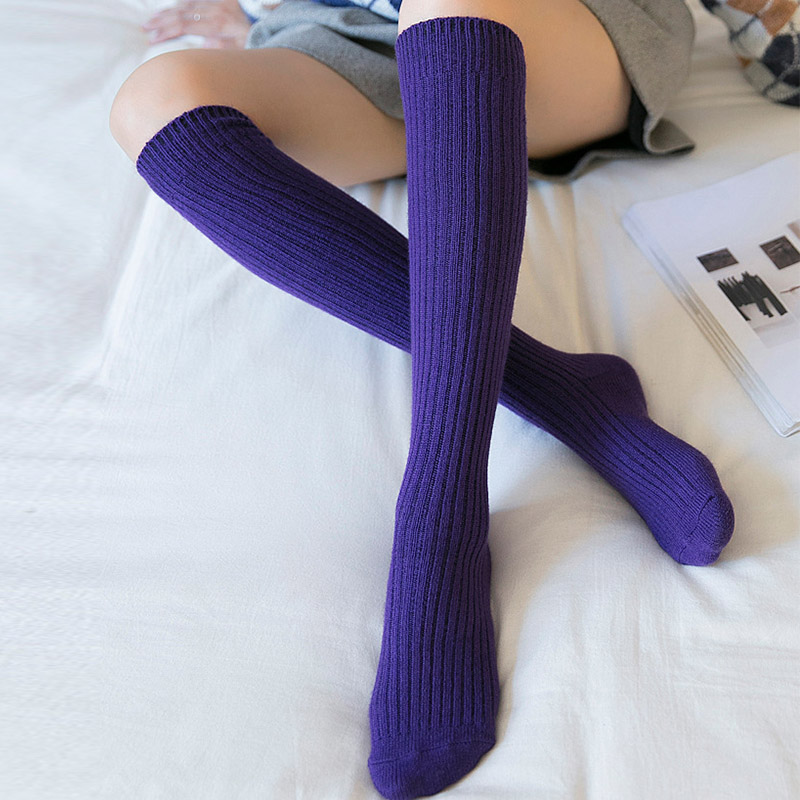Image 3 - Autumn Winter Stockings Women Warm Cashmere Elasticity Knee High Stockings Black Blue Purple Gray Wine Red ColorStockings   -