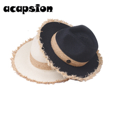 Black Jazz Hats For Women Fray Brim White Straw Sun Hat Men Formal Summer Beach Cap Letter M Fedora Casual A112