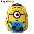 RoyaDong School Bags For Kids Girls Boys Children Toddler Backpacks Schooltas Nylon Minion Backpack Yellow 2016 Mochila Satchel