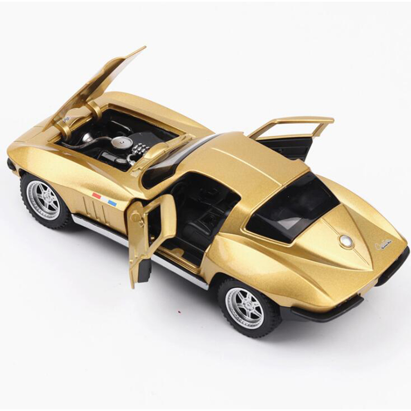 15.3CM 1:32 Scale Golden Color Metal Alloy Chevrolet Corvette C2 Racing Car Pull Back Diecast Vehicles Model Toys For Children