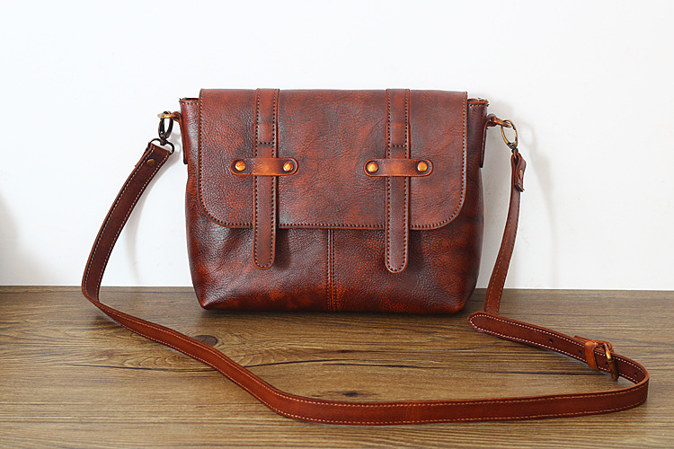 Vintage Vegetable Tanned Genuine Leather Girls School Bag Women