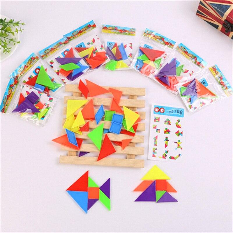 Learning Education Jigsaw Puzzle Toys For Children Brain Plastic 3d Puzzle Tangram Teaser Tetris Geometric Shape Jigsaw Game