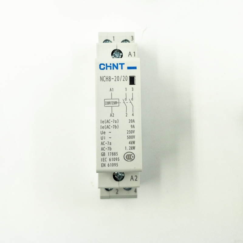 CHINT Household Single-phase Communication Contactor 220V Modular AC Contactor NCH8-20/20 Two Normally Open 2P 20A