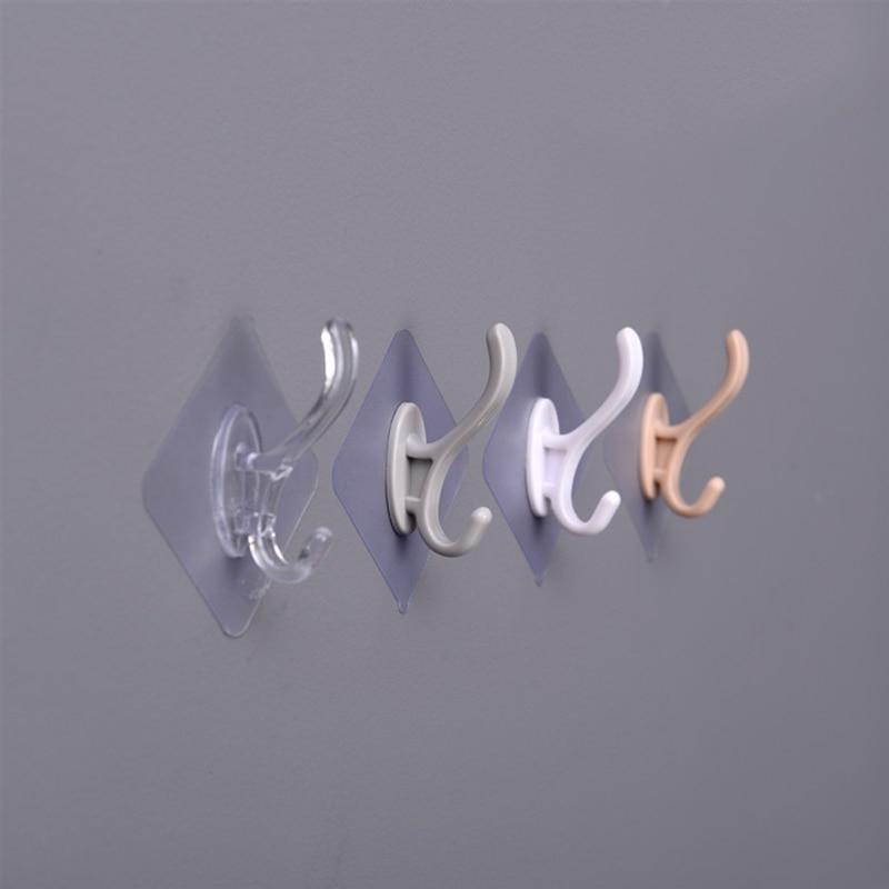 5PCs Transparent Strong Self Adhesive Door Wall Hangers Towel Mop Handbag Holder Hooks For Hanging Kitchen Bathroom Accessories