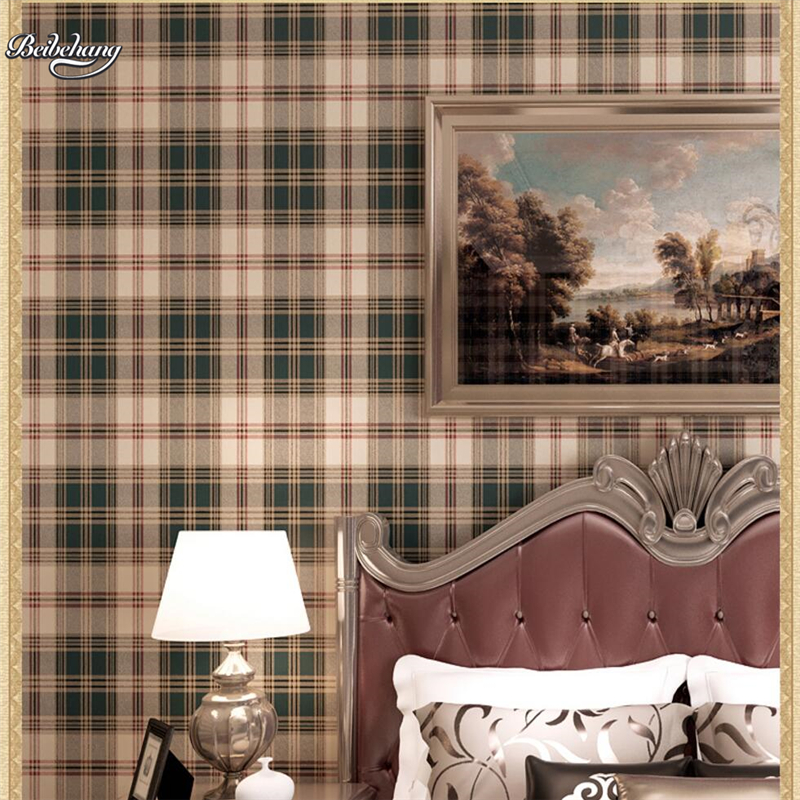 beibehang British Mediterranean style paper wall paper plaid retro Scottish bedroom living room children room full of wallpaper beibehang wallpaper vertical stripes 3d children s room boy bedroom mediterranean style living room wallpaper page 2