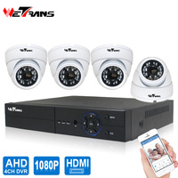 Wetrans Video Surveillance CCTV System Indoor HD 1080P 4CH DVR P2P 20m Night Vision Metal Dome