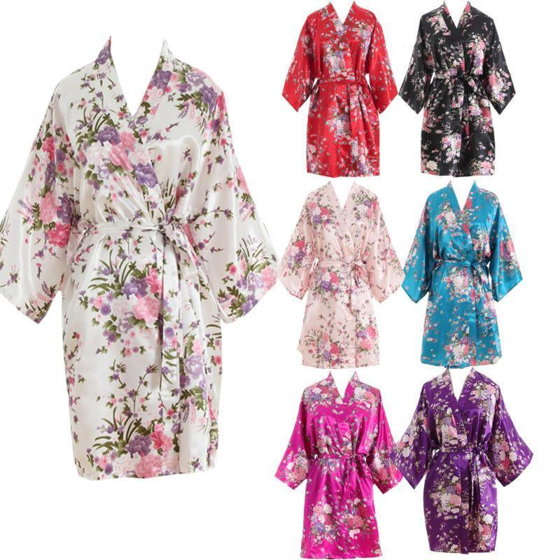 New Women Short floral Robe Dressing Gown Bridal Wedding Bride Bridesmaid Kimono