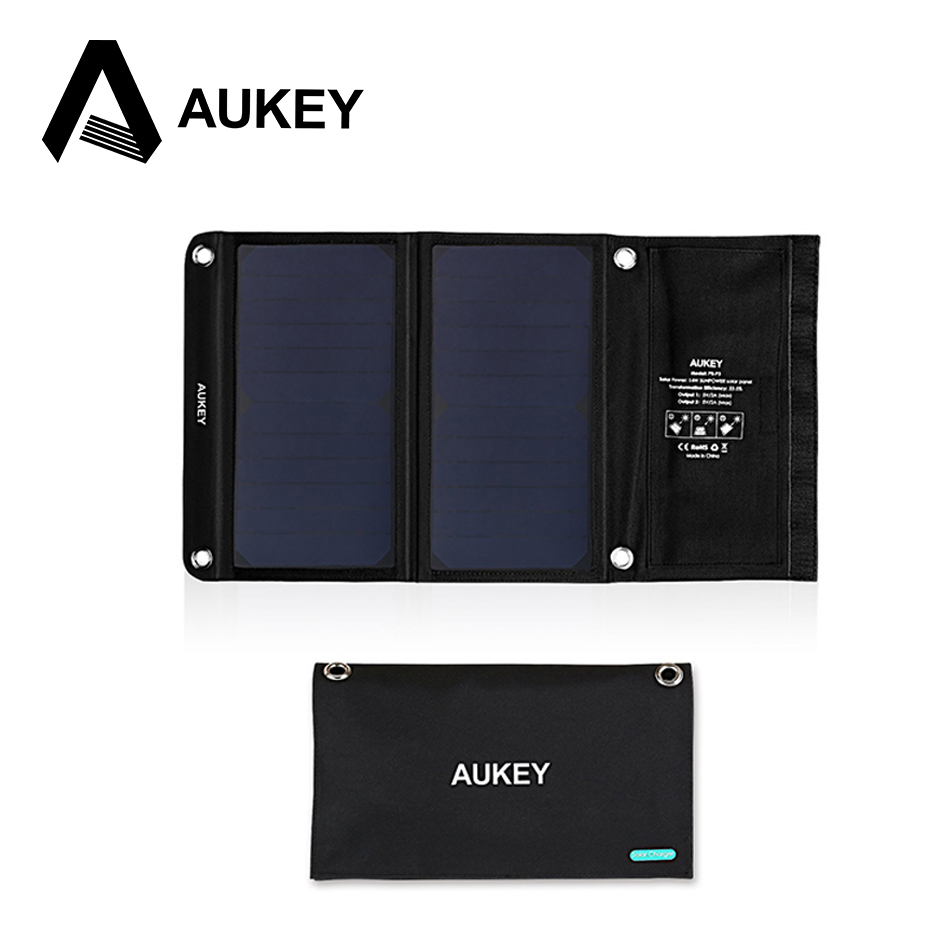 AUKEY 14W Portable Foldable Solar Charger with 2 USB Ports and High Efficiency SunPower  ...