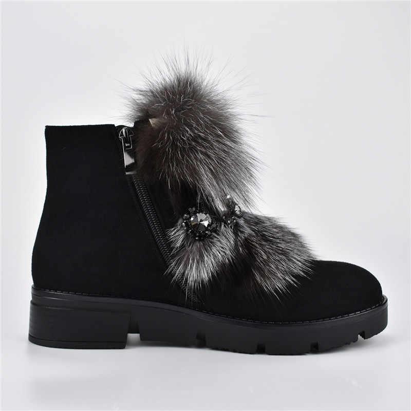 Odetina יוקרה שועל פרווה צאן עור שלג מגפי נשים פלטפורמה שטוח רוכסן נשי קרסול מגפי עם מתכת שרשרת חורף חם נעליים