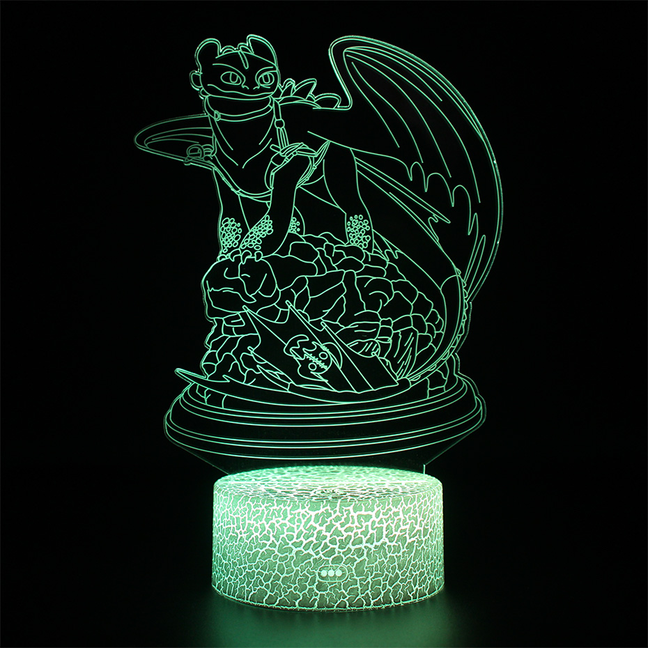 Dragon Toothless Lamps Illusion Touch 3d Table Lamp Nightlight Light Fury Led Night Light How To Train Your Dragon 2 Lamp