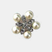 Unique wholesale 28mm crystals pearl alloy flower flat back buttons bridal embellishment ornament accessory 12pcsx free shipping