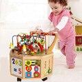 O reconhecimento da Letra do bebê Brinquedos De Madeira ao redor Do Grânulo Labirinto Cubo Walker Push Pull com rodízio de Brinquedos Educativos Crianças Presente de Aniversário