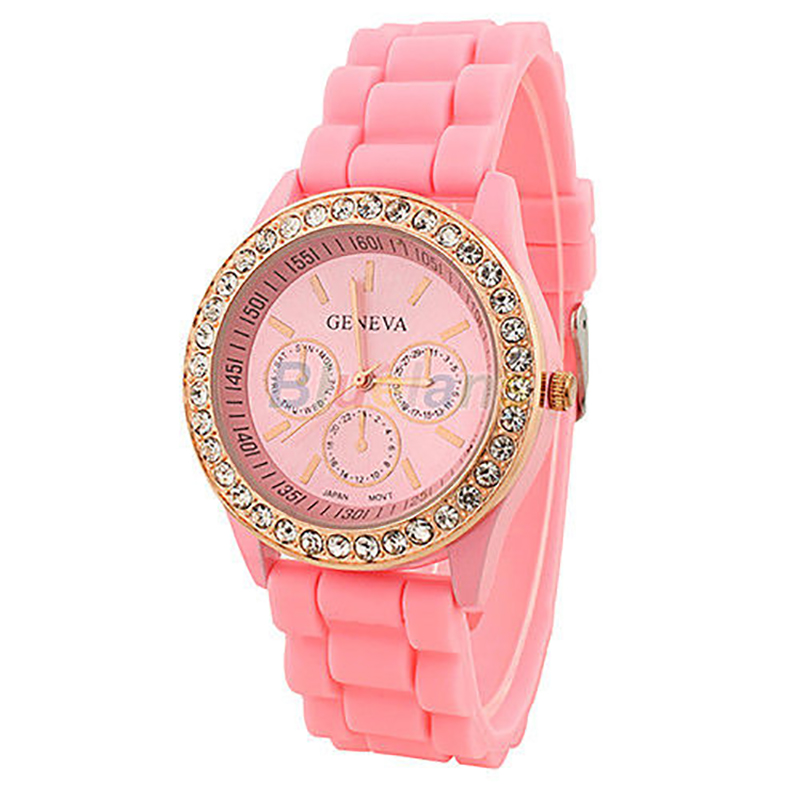 Silicone Quartz Golden Crystal Stone Jelly Wrist Watch For Ladies Women Girl cocoshine a 912 women silicone rubber jelly gel quartz casual sports wrist watch wholesale free shipping