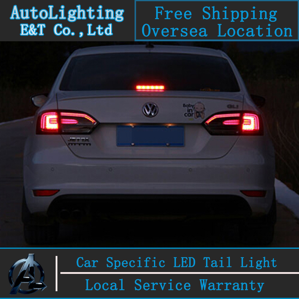 Car Styling LED Tail Lamp for Jetta tail lights For VW Jetta led tail light Mk6 lamp drl rear lamp cover signal+brake+reverse for vw volkswagen polo mk5 6r hatchback 2010 2015 car rear lights covers led drl turn signals brake reverse tail decoration