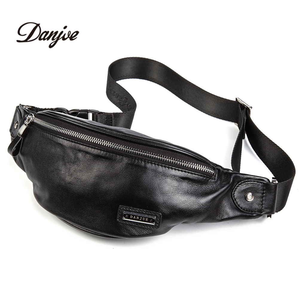 DANJUE Genuine Leather Waist Packs for Men Fanny Pack Belt Bag Cowhide Phone Pouch Bags Travel