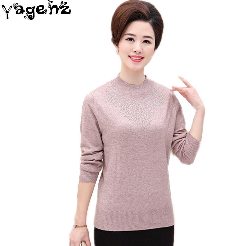Automne hiver femmes chandail grande taille basique cachemire demi col roulé chandail hauts moyen âge femmes chemise pulls tricotés C130