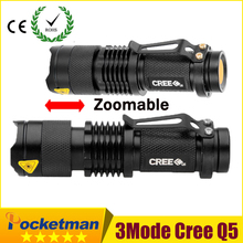 NO.1 Brand-Pocketman Hot high-quality Mini Black CREE 2000LM Waterproof LED Flashlight 3 Modes Zoomable LED Torch penlight ZK95
