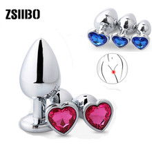 Private goods 3pcs shaped Heart Smooth Steel metal anal plug jewelry crystal butt beads dildo Sex toys for women pussy