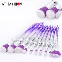 New Style 10pcs Foundation Makeup Brushes Set Rotating Tower Eye Shadow Eyeliner Blush Brush Cosmetic Tools