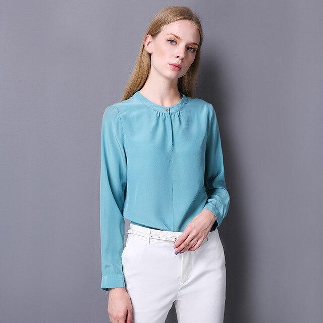 56c9be475da4c 100% seda crepé camisa pura seda Natural tela mujer camisa nuevo Desigual  Color liso Oficina